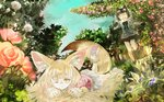 2girls animal_ears blonde_hair bow bowtie commentary_request common_raccoon_(kemono_friends) elbow_gloves eyebrows_visible_through_hair fang fennec_(kemono_friends) flower foliage fox_ears fox_tail fur_collar fur_trim gloves grey_hair kemono_friends konabetate lying multicolored_hair multiple_girls on_stomach one_eye_closed open_mouth pantyhose pleated_skirt puffy_short_sleeves puffy_sleeves raccoon_ears raccoon_tail running short_hair short_sleeves skirt tail thighhighs