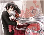 1boy 1girl doily dress floral_background formal gosick gown green_eyes hair_between_eyes hairband hand_on_headwear hara_sae hat holding hug kujou_kazuya lolita_hairband long_hair looking_away older open_mouth red_dress silver_hair spoilers suit very_long_hair victorica_de_blois wide_sleeves
