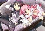 2girls akemi_homura black_hair checkered checkered_floor commentary_request couch gloves highres kaname_madoka kyubey light_smile long_hair looking_at_viewer magical_girl mahou_shoujo_madoka_magica multiple_girls pantyhose pink_hair short_hair twintails uni