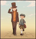 2boys ^_^ bag black_border border brown_hair closed_eyes hat hershel_layton kneehighs luke_triton male_focus matsuki_(mikipingpong) multiple_boys open_mouth professor_layton shorts smile top_hat walking white_legwear