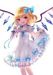 1girl alternate_costume arm_up bangs blonde_hair blue_bow bow cropped_legs dress eyebrows_visible_through_hair fang feet_out_of_frame flandre_scarlet flat_chest frilled_dress frills hair_bow index_finger_raised lifted_by_self looking_at_viewer no_hat no_headwear open_mouth red_eyes sakipsakip side_ponytail simple_background skirt_hold sleeveless sleeveless_dress solo swept_bangs touhou white_background white_dress wings