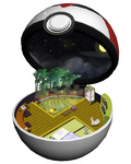 bamboo fan full_moon futon lantern minimized moon night night_sky no_humans onsen open_poke_ball pikachu poke_ball pokemon pokemon_(creature) potty ruun_(abcdeffff) sky star tatami timer_ball