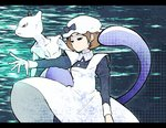 1girl apron bow brown_hair hat maid_(pokemon) mewtwo minashirazu nib_pen_(medium) open_mouth pokemon pokemon_(game) short_hair solo tail traditional_media
