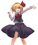 1girl ;d arms_up black_skirt black_vest blonde_hair clenched_hand cravat eyebrows_visible_through_hair feet_out_of_frame hair_between_eyes hair_ribbon highres long_sleeves looking_at_viewer one_eye_closed open_hand open_mouth outstretched_arm red_eyes red_neckwear ribbon rumia shirt short_hair simple_background skirt smile solo standing touhou upper_teeth vest white_background white_shirt wing_collar yanyan_(shinken_gomi)