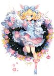 1girl 2017 animal apron artist_name bangs bell blonde_hair blue_apron blue_bow blue_eyes blue_footwear blush borrowed_character bow closed_mouth commentary commission cutesu_(cutesuu) double_bun dress english_commentary eyebrows_visible_through_hair eyepatch feathered_wings floral_background flower frilled_bow frilled_legwear frilled_sleeves frills full_body hair_bell hair_bow hair_ornament head_wings heart hieihirai holding holding_animal jingle_bell kneehighs leg_up lolita_fashion long_hair long_sleeves looking_at_viewer medical_eyepatch original outstretched_arm pink_dress pink_flower pink_legwear pink_rose pink_wings ribbon rose shoes sleeveless sleeveless_dress smile solo standing standing_on_one_leg striped striped_bow white_ribbon white_wings wide_sleeves wings