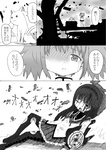 2girls :3 akemi_homura bad_id bad_pixiv_id blood comic crack drill_hair greyscale hairband highres jewelry kaname_madoka kosshii_(masa2243) kyubey long_hair mahou_shoujo_madoka_magica monochrome multiple_girls one_eye_closed pantyhose ring school_uniform skirt tears thighhighs torn_clothes torn_pantyhose translated twin_drills twintails