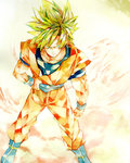 1boy ake_(ake54) blonde_hair blue_eyes boots dougi dragon_ball dragon_ball_z hand_on_belt highres looking_away male_focus serious short_hair simple_background son_gokuu spiked_hair super_saiyan traditional_media watercolor_(medium) white_background wristband