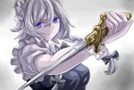 1girl bad_id bad_twitter_id bangs blue_dress blue_eyes bow bowtie breasts colored_eyelashes commentary_request dagger dress grey_background grey_bow grey_neckwear hair_between_eyes hair_bow highres holding holding_dagger holding_weapon izayoi_sakuya jan_(lightdragoon) light_particles light_smile looking_at_viewer maid maid_headdress medium_breasts puffy_short_sleeves puffy_sleeves reverse_grip shirt short_hair short_sleeves silver_hair solo touhou upper_body weapon white_shirt
