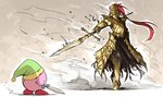 absurdres armor commentary dark_souls dragon_slayer_ornstein duel full_armor gauntlets hat helmet highres kan_(aaaaari35) kirby kirby_(series) metal_boots plume pointing_weapon polearm souls_(from_software) spear sword weapon