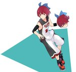 1girl ahoge basketball basketball_uniform blue_bow bow closed_mouth commentary disembodied_head dribbling english_text eyebrows_visible_through_hair full_body hair_bow mknongr red_eyes red_hair sekibanki shaded_face shoes short_hair shorts sleeveless smile sneakers solo sportswear touhou
