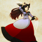1girl animal_ears black_hair brooch brown_hair dress fingernails gradient_hair imaizumi_kagerou jewelry long_fingernails long_hair long_sleeves motion_lines multicolored_hair open_mouth red_eyes simple_background solo standing suzuki_natsume touhou werewolf wolf_ears