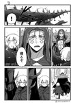 ! 1boy 1girl asaya_minoru bangs boots chest_tattoo cloak closed_mouth collarbone comic cu_chulainn_alter_(fate/grand_order) earrings eyebrows_visible_through_hair facial_mark facial_scar fate/apocrypha fate/grand_order fate_(series) greyscale hair_between_eyes hair_strand hood hood_up jack_the_ripper_(fate/apocrypha) jewelry lancer long_hair looking_to_the_side monochrome open_mouth scar scar_across_eye scar_on_cheek shoe_soles speed_lines spoken_exclamation_mark tail tattoo thigh_boots thighhighs torn_cloak torn_clothes translated twitter_username walking