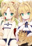 2girls animal animal_ears artoria_pendragon_(all) bandeau bangs bare_arms bare_shoulders belt_buckle black_belt black_legwear blonde_hair blue_cloak blue_shorts blush buckle byulzzimon candy cloak closed_mouth collarbone collared_shirt commentary_request crown eyebrows_visible_through_hair fate/apocrypha fate/grand_order fate/stay_night fate_(series) food fur-trimmed_cloak fur_trim green_eyes hair_between_eyes hair_intakes holding holding_lollipop jewelry kemonomimi_mode lion lion_ears lollipop long_sleeves mordred_(fate) mordred_(fate)_(all) multiple_girls pantyhose parted_lips pendant ponytail saber shirt short_shorts shorts sidelocks sitting sleeves_past_wrists smile wavy_mouth white_background white_bandeau white_shirt younger