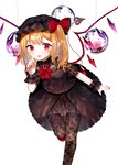 1girl :p alternate_costume bangs black_blouse black_headwear black_legwear blonde_hair blouse brooch collared_blouse commentary_request curled_fingers eyebrows_visible_through_hair eyelashes flandre_scarlet floral_print flower foot_out_of_frame frilled_cuffs frilled_skirt frills garter_straps gem hair_ribbon hand_up hat jewelry lace lace_legwear layered_skirt leaning_forward leg_up looking_at_viewer medium_skirt mob_cap neck_ribbon open_hand orb red_eyes red_footwear red_nails red_neckwear red_ribbon ribbon sakipsakip see-through_sleeves short_sleeves side_ponytail sidelocks skirt solo standing standing_on_one_leg string thighhighs tongue tongue_out touhou white_background wings wrist_cuffs zettai_ryouiki