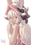 1other :3 animal_ears artist_name bangs chinese_commentary colored_eyelashes commentary_request eyebrows_visible_through_hair fkey from_behind furry hand_on_own_face hand_up hat highres horns long_hair looking_at_viewer looking_back made_in_abyss nanachi_(made_in_abyss) signature simple_background smile solo topless upper_body whiskers white_background white_hair yellow_eyes