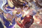 1boy 1girl archer armlet black_hair blue_ribbon breasts cleavage commentary_request earrings eye_contact fate/grand_order fate_(series) gears hair_ribbon hand_on_another's_cheek hand_on_another's_face hoop_earrings ishtar_(fate/grand_order) jewelry ji_wuming long_hair looking_at_another pixiv_fate/grand_order_contest_1 red_eyes ribbon silver_hair single_detached_sleeve single_thighhigh strapless sword thighhighs toeless_legwear two_side_up unlimited_blade_works weapon
