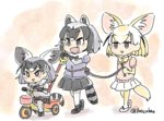 3girls :d animal_ears black_bow black_hair black_neckwear black_skirt blonde_hair bow bowtie child commentary common_raccoon_(kemono_friends) extra_ears fang fennec_(kemono_friends) fennecoon_(kemono_friends)_(panzuban) fox_ears fox_tail fur_collar grey_hair grey_sweater holding_rope if_they_mated ips_cells kemono_friends miniskirt multicolored_hair multiple_girls open_mouth pantyhose panzuban pink_sweater pleated_skirt raccoon_ears raccoon_tail rope short_hair skirt smile sweater tail triangle_mouth tricycle twitter_username walking white_legwear white_skirt yellow_bow yellow_legwear yellow_neckwear yuri