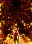 1boy black_keys brown_hair closed_eyes cross drawr fate/zero fate_(series) fire great_grail kotomine_kirei male_focus roe_(d-c_-b) scenery solo spoilers