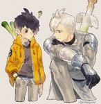 2boys ? armor black_hair bracelet commentary cropped_legs farfetch'd gen_1_pokemon gen_8_pokemon gloves grey_background hand_in_pocket highres hood hood_down jacket jewelry kneeling leeis_cool looking_at_another multicolored_hair multiple_boys open_clothes open_jacket personification pokemon shoulder_armor silver_hair simple_background sirfetch'd smile spring_onion two-tone_hair weapon weapon_on_back
