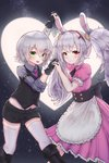 2girls alternate_costume animal_ears apron armband azur_lane bangs black_footwear black_gloves black_shorts blush boots bunny_ears buttons collared_shirt commentary crossover dress eyebrows_visible_through_hair fate/apocrypha fate/grand_order fate_(series) frilled_sleeves frills gloves green_eyes greypidjun hair_between_eyes headband heart highres holding_hands jack_the_ripper_(fate/apocrypha) laffey_(azur_lane) long_hair looking_at_viewer midriff_peek moon multiple_girls necktie pink_dress puffy_short_sleeves puffy_sleeves red_eyes scar shirt short_hair short_shorts short_sleeves shorts sidelocks silver_hair sky standing star_(sky) starry_sky symbol_commentary thighhighs twintails vest waist_apron white_legwear