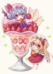 2girls arms_up ascot bangs bat_wings beige_background blue_hair blush cherry chibi commentary_request crystal cup dress drinking_glass flandre_scarlet food fruit grapes hair_between_eyes hat hat_ribbon highres holding holding_food holding_fruit ice_cream kyouda_suzuka long_hair looking_at_viewer looking_up lying minigirl mob_cap multiple_girls on_stomach one_side_up parted_lips petticoat pink_dress pink_headwear puffy_short_sleeves puffy_sleeves raspberry red_eyes red_footwear red_ribbon red_skirt red_vest remilia_scarlet ribbon shirt shoes short_hair short_sleeves siblings simple_background sisters skirt standing strawberry sundae touhou vest white_headwear white_shirt wings yellow_neckwear