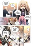 1girl 2boys absurdres bald brown_hair bunny comic commentary_request crying crying_with_eyes_open doll firing formal girls_frontline guard gun h&k_ump h&k_ump45 highres korean_text multiple_boys shey_kr submachine_gun suit sunglasses tears translation_request ump45_(girls_frontline) weapon yellow_eyes younger