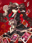 1girl :q black_dress black_hair black_legwear black_nails bow celestia_ludenberck da-cart danganronpa danganronpa_1 dress drill_hair eyebrows_visible_through_hair flower garters gothic_lolita hairband holding lolita_fashion lolita_hairband long_hair looking_at_viewer nail_polish necktie photo_(object) red_bow red_eyes red_flower red_neckwear ribbon-trimmed_legwear ribbon_trim short_dress smile solo sparkle thighhighs tongue tongue_out twin_drills twintails very_long_hair white_hairband