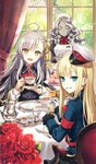 3girls :d ahoge blonde_hair blue_eyes chair closed_eyes commentary_request craft_essence cup curtains fate/grand_order fate_(series) flower food fork gloves golem grey_hair hair_ribbon hat head_tilt holding holding_cup light_blush long_hair looking_at_viewer looking_back lord_el-melloi_ii_case_files maid maid_headdress mini_hat morikura_en multiple_girls official_art olga_marie_animusphere open_mouth plate red_flower red_rose reines_el-melloi_archisorte ribbon rose saucer sitting smile table teacup trimmau volumen_hydragyrum white_gloves window yellow_eyes yellow_ribbon