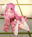 1girl animal_ears back blush bunny_ears bunny_tail cup floral_print highres japanese_clothes kimono legs_up loki_78 long_hair long_sleeves looking_at_viewer looking_back lying obi off_shoulder on_ground on_stomach open_mouth pink_eyes pink_skirt purple_hair reisen_udongein_inaba sakazuki sash skirt solo tail tatami thighhighs touhou white_legwear wide_sleeves zettai_ryouiki