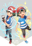 2boys :d baseball_cap black_gloves black_pants blue_shirt brown_eyes clenched_hand copyright_name dual_persona electricity fingerless_gloves gloves green_hair grey_background hat highres holding holding_poke_ball leg_up looking_at_viewer multiple_boys open_mouth pants poke_ball pokemon pokemon_(anime) pokemon_sm_(anime) pokemon_xy_(anime) red_hat satoshi_(pokemon) shirt short_sleeves simple_background smile standing standing_on_one_leg striped striped_shirt tareme water z-ring