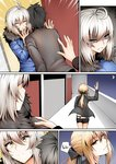 1boy 2girls ahoge angry artoria_pendragon_(all) black_hair blonde_hair bow comic commentary crescent_moon english_text fate/grand_order fate_(series) fujimaru_ritsuka_(male) ginhaha hair_bow hallway jeanne_d'arc_(alter)_(fate) jeanne_d'arc_(fate)_(all) long_hair moon multiple_girls ponytail saber_alter shaded_face shaft_look short_hair speech_bubble sweatdrop waving yellow_eyes