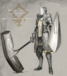 ambiguous_gender armor boots character_name commentary_request faulds full_armor greaves hammer helmet holding holding_weapon huge_weapon keemu_(occhoko-cho) knight pauldrons pixiv_fantasia pixiv_fantasia_revenge_of_the_darkness plate_armor shield solo standing tabard warhammer weapon