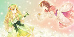 2girls atelier_(series) atelier_ayesha ayesha_altugle bare_shoulders blonde_hair blush bow brown_hair dandelion_seed dress flower fur_trim fuuka_(fukasheu) green_eyes hair_bow hair_flower hair_ornament hand_on_own_chest hat headdress light_particles long_hair long_sleeves looking_at_another multiple_girls nio_altugle parted_lips reaching siblings sisters very_long_hair wavy_hair wide_sleeves yellow_eyes