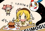 2girls :3 charlotte_(madoka_magica) chibi drill_hair drooling food fork hair_ribbon hamburger hat hidamari_sketch kaname_madoka kotaka kyubey mahou_shoujo_madoka_magica mami_mogu_mogu mitakihara_school_uniform miyako mizuhashi_kaori multiple_girls o_o parody pink_hair plaid red_eyes ribbon school_uniform seiyuu_connection short_twintails skirt spoilers style_parody tears thighhighs tomoe_mami tongue twintails ||_||