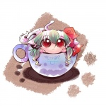 1girl :< bad_id bad_pixiv_id blush chibi cup ex-keine horn_ribbon horns in_container in_cup kamishirasawa_keine long_hair looking_up minigirl red_eyes ribbon solo tail touhou usoneko