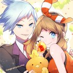1boy 1girl ;) ;> blue_hair blush brown_hair congratulations cravat gen_3_pokemon hair_ribbon haruka_(pokemon) jewelry looking_at_viewer lowres miyamotokannn one_eye_closed pokemon pokemon_(game) pokemon_oras ribbon ring short_hair smile stuffed_toy torchic triangle_mouth tsuwabuki_daigo