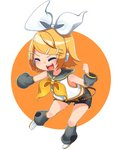 1girl absurdres belt blonde_hair blush bow bowtie chibi circle closed_eyes commentary detached_sleeves hair_bow hair_ornament hairclip hand_up headphones highres inu8neko kagamine_rin leg_warmers outstretched_arm sailor_collar shirt short_hair shorts simple_background smile solo vocaloid white_background white_bow white_shirt yellow_neckwear