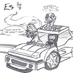1boy 2019 2girls >_< breasts car closed_eyes commentary dated drawfag electronic_entertainment_expo forza gloves green_heart greyscale ground_vehicle hood hoodie keanu_reeves large_breasts lego lego_brick logo long_hair monochrome motor_vehicle multiple_girls navel neptune_(neptune_series) neptune_(series) open_mouth parody simple_background smile tagme the_lego_group wheel white_background