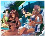 2012 4girls :p anhellica arrancar assisted_exposure ball bangs bar_censor beach beachball bikini bikini_top_removed black_hair bleach blonde_hair blue_eyes blue_sky blunt_bangs book bottle breasts brown_hair censored chair closed_eyes covering_mouth curly_hair cyan_sung-sun dark_skin day emilou_apacci emoticon english expressionless facial_mark franceska_mila_rose green_eyes green_hair grin heterochromia holding holding_book holding_bottle holding_strap hole_on_body horn innertube large_breasts long_hair lotion multiple_girls one-piece_swimsuit outdoors palm_tree parasol sand shell short_hair sitting sky sleeves_past_wrists small_breasts smile starfish straight_hair strap sunglasses swimsuit tier_harribel tongue tongue_out topless tree umbrella watermark web_address white_bikini yellow_eyes