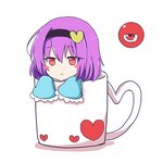 1girl :< bangs black_hairband blush_stickers commentary_request cup eyebrows_visible_through_hair frilled_sleeves frills hair_between_eyes hairband heart in_container in_cup jitome komeiji_satori long_sleeves looking_at_viewer minigirl mug print_mug purple_hair red_eyes shadow short_hair simple_background solo third_eye touhou white_background wide_sleeves ying1hua1
