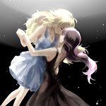 black_background black_dress blonde_hair blue_dress brown_hair closed_eyes commentary dancing dress holding_hands neo_(rwby) pink_hair rwby tl yang_xiao_long yuri