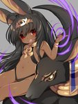 1girl :d ahoge animal animal_ears anubis bangle bangs bare_shoulders black_hair black_leotard blush bracelet center_opening commentary dark_skin eyebrows_visible_through_hair fangs grey_background groin hair_between_eyes hand_up head_tilt headpiece highres index_finger_raised jackal_ears jewelry leotard long_hair mofuaki navel open_mouth original red_eyes revealing_clothes short_eyebrows simple_background sitting smile solo thick_eyebrows very_long_hair