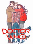 1girl 2boys amy_pond boots converse denim doctor_who eleventh_doctor hug jacket jeans kamaboko_(moyaciv) multiple_boys pants rory_willams shirt simple_background smile tears