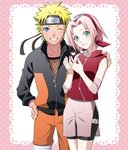 1boy 1girl ;d bandages bike_shorts black_shorts blonde_hair blue_eyes collarbone couple cowboy_shot eyebrows_visible_through_hair fishnets green_eyes grin hand_on_another's_shoulder hand_on_hip haruno_sakura headband heart jacket looking_at_viewer nanji3 naruto one_eye_closed open_mouth orange_panties panties partially_unzipped pink_hair red_jacket short_hair shorts sleeveless_jacket smile sparkle spiked_hair standing underwear uzumaki_naruto