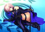 1girl black_footwear black_legwear black_leotard blue_gloves boots breasts elbow_gloves eyes fate/grand_order fate_(series) gloves hair_over_one_eye large_breasts leotard looking_at_viewer lying mash_kyrielight on_side purple_eyes sen_(77nuvola) short_hair silver_hair smile solo sword thigh_boots thigh_strap thighhighs weapon