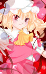 1girl blonde_hair commentary_request fang flandre_scarlet hat highres red_eyes short_hair smile solo touhou yuzuna99