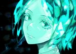 1other androgynous colored_eyelashes crystal_hair dark_background face green_eyes green_hair highres houseki_no_kuni long_eyelashes looking_at_viewer phosphophyllite short_hair solo