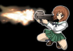 1girl bangs black_background black_legwear black_neckwear blouse brown_eyes brown_footwear brown_hair bullpup closed_mouth commentary_request eyebrows_visible_through_hair firing frown girls_und_panzer green_skirt gun gunslinger_girl holding holding_weapon loafers long_sleeves looking_to_the_side miniskirt neckerchief nishizumi_miho ooarai_school_uniform p90 parody pleated_skirt rokkaku_denpa school_uniform serafuku shell_casing shoes short_hair simple_background skirt socks solo squatting submachine_gun weapon white_blouse