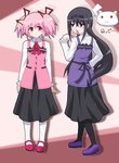 2girls :3 akemi_homura black_hair black_legwear blood blush commentary_request cosplay gochuumon_wa_usagi_desu_ka? hair_ribbon hairband hayashiya_zankurou highres hoto_cocoa_(cosplay) kaname_madoka kyubey long_hair mahou_shoujo_madoka_magica mary_janes multiple_girls nosebleed panties pantyhose pink_eyes pink_hair purple_eyes rabbit_house_uniform ribbon shoes short_hair short_twintails smile tedeza_rize_(cosplay) tippy_(gochuumon_wa_usagi_desuka?) translated twintails two_side_up underwear white_legwear