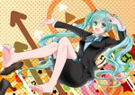 1girl aqua_eyes aqua_hair aqua_nails arrow barefoot black_footwear black_jacket black_skirt buttons circle commentary foot_up formal full_body hair_ornament hatsune_miku high_heels highres jacket knee_up long_hair looking_at_viewer nail_polish necktie open_mouth outstretched_arm polka_dot polka_dot_background salute satowaka_miharu shirt shoes short_necktie sitting skirt smile solo star suit triangle twintails two-tone_neckwear uniform very_long_hair vocaloid white_shirt